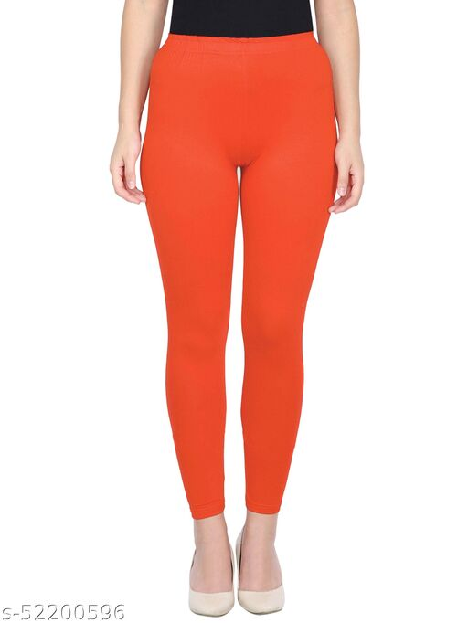 Women's Slim Fit Ankle Length Leggings (Dark Orange_Free Size - Fit to waist - 28-36 inches)