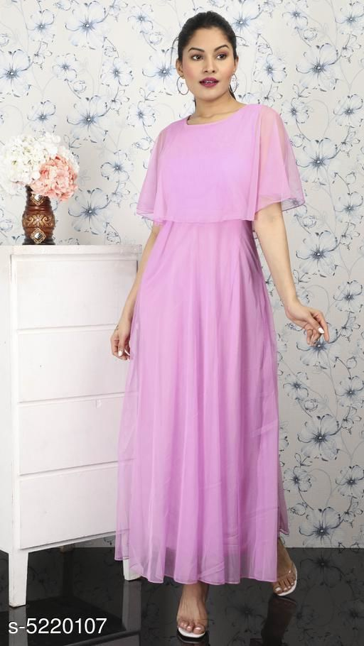 Women's Solid Pink Net Dress