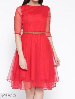 Women's Solid Red Net Dress