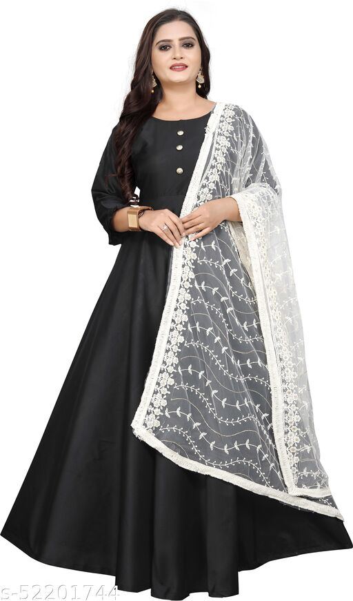 DM FASHION HUB Woman's New Fashion Jacquard  Solid Gown