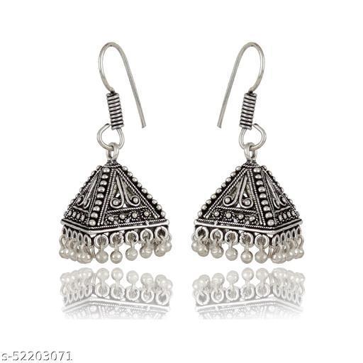 ZoonivSilver Plated Oxidised Jhumka Jhumki Earring For Girls & Women Metal Jhumki Earring