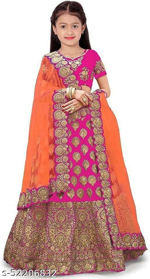 Girl's Silk Blend Semi-stitched Lehenga Choli Set