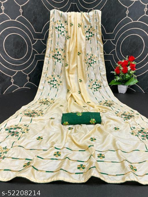 Heer Trendz Women's Dola Silk Bride Embroidered Party Wedding Fashion Sarees Cream Color