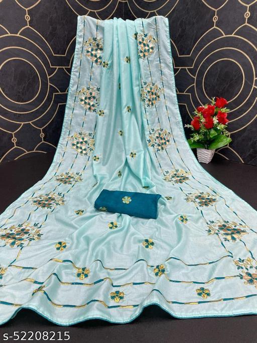 Heer Trendz Women's Dola Silk Bride Embroidered Party Wedding Fashion Sarees Sky Blue Color