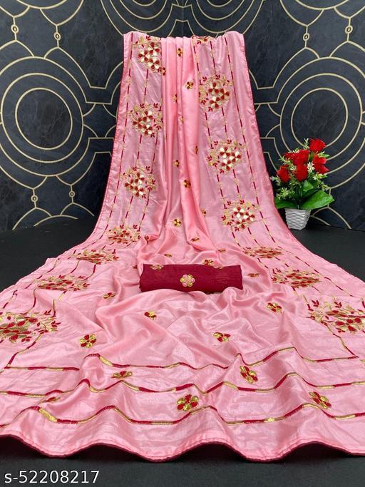 Heer Trendz Women's Dola Silk Bride Embroidered Party Wedding Fashion Sarees Pink Color