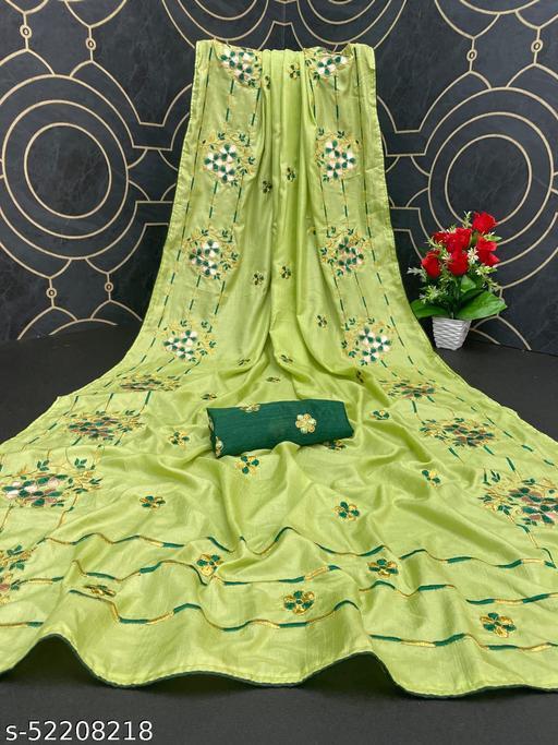 Heer Trendz Women's Dola Silk Bride Embroidered Party Wedding Fashion Sarees Olive Color