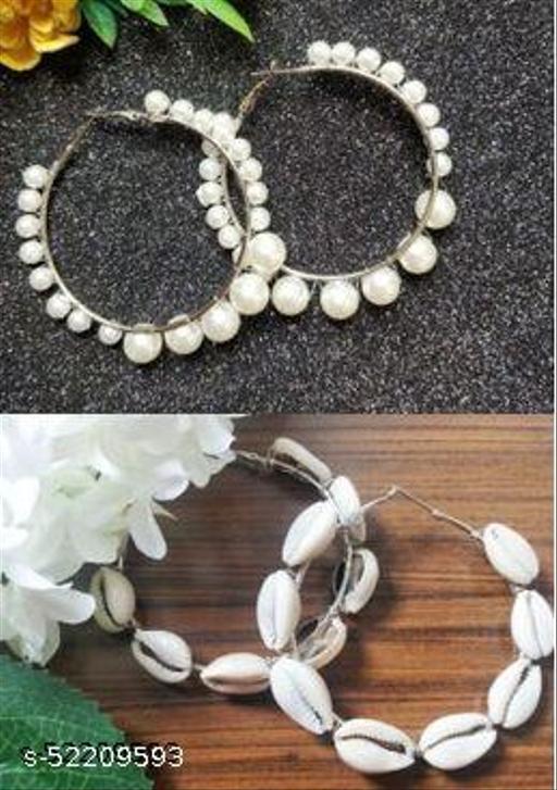 Strigehne Combo of Single Pearl and Shell Hoop Earrings