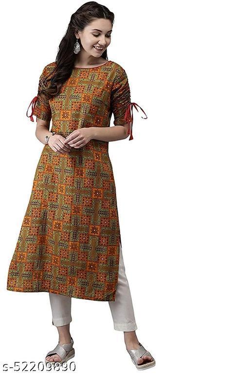 RC Women's Rayon Printed Kurti with Pant Set (Multi)