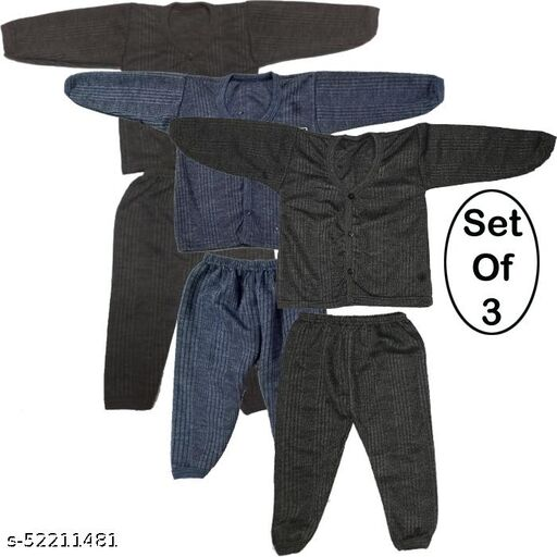 Kids Winter Wear Thermal Top and Bottom Set for Baby Boys and Girls May Vary Colour (Set Of 3)