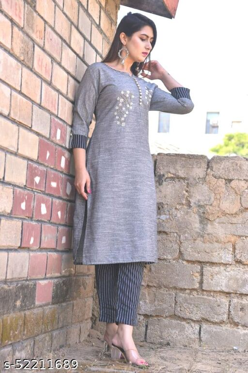 Shridhar Enterprises Women's South Cotton Kurti With Pant (PINK)