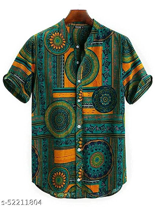 Cotton Polyester Blend Printed Shirt Fabric(Unstitched)