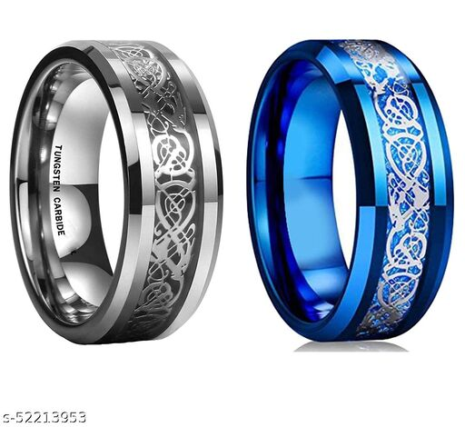 YouBella Boys/Men's Silver Plated Stainless Steel Ring Jewellery Combo (Style 2)