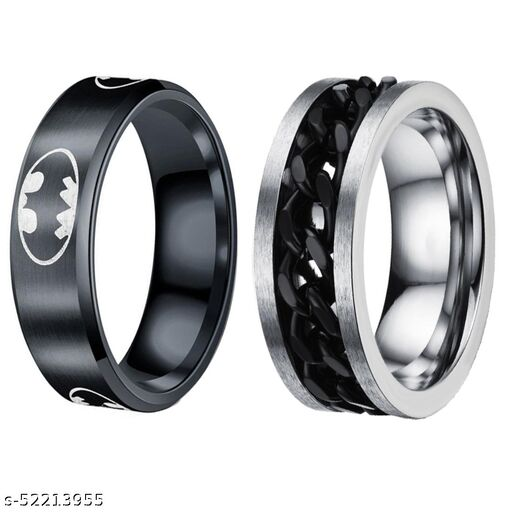 YouBella Jewellery Silver Plated Stainless Steel Ring Combo for Men (Style 3)