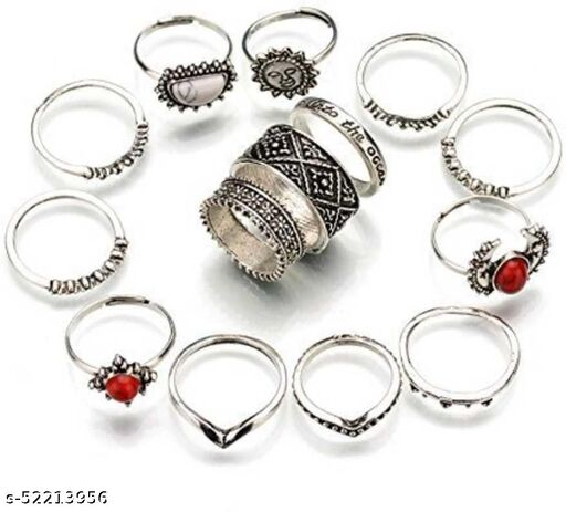YouBella Oxidised Combo of 14 Boho Silver Plated Rings for Girls and Women (YBRG_20101A)