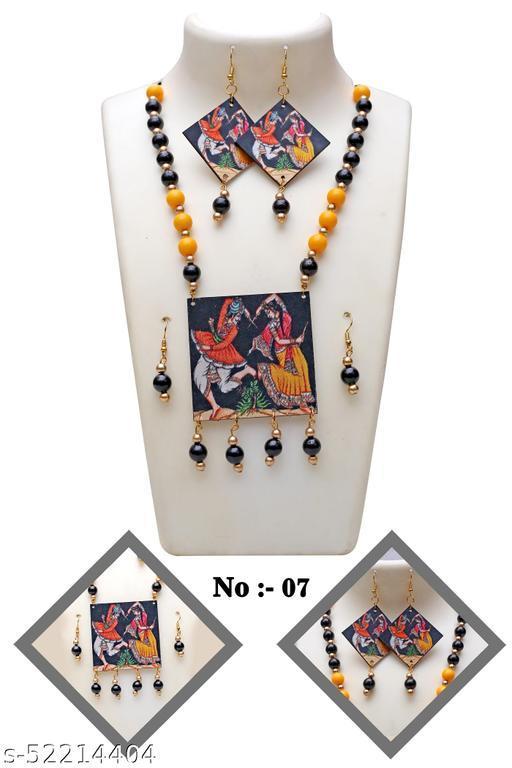 Wooden Stylish Women jewellery Neckless Set With Earrings