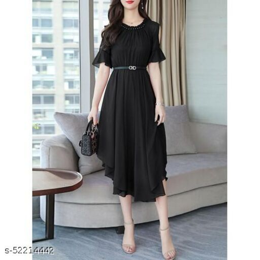 Women's Aline Dress Chiffon Hollow Shoulder High Waist Midi Dress Black