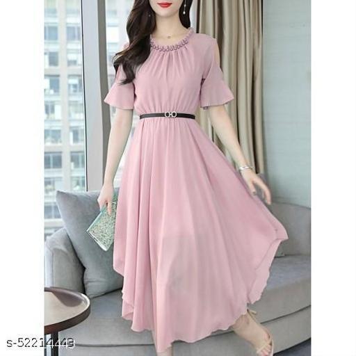 Women's Aline Dress Chiffon Hollow Shoulder High Waist Midi Dress Pink