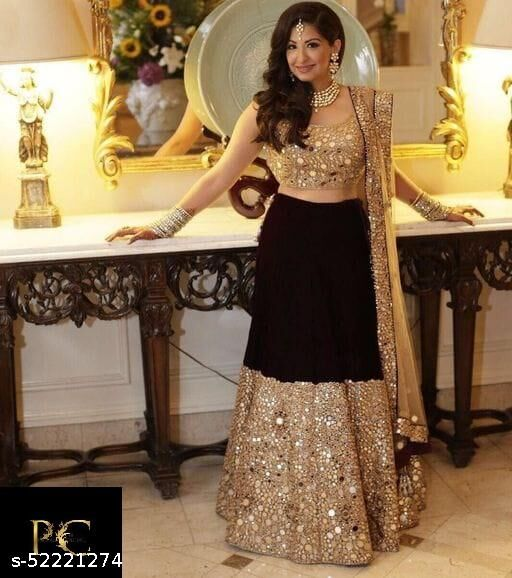 AJ ENTERPRISE NEW DESIGNER WEDDING WEAR EMBROIDERY WORK WITH REAL  MIRROR WORK EMBROIDERY WITH MIRROR WORK   CHOLI  AND  EMBROIDERY  NET DUPATTA