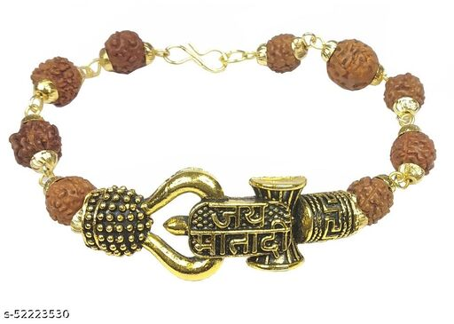 Uniqon Stylish Adjustable Trending Brown Beads Jai Mata Di Rudraksha Mala Chain Om Mahadev Bolenath Mahakaal Lord Shiva Trishul With Damroo Wrist Band Cuff Bracelets For Men & Women