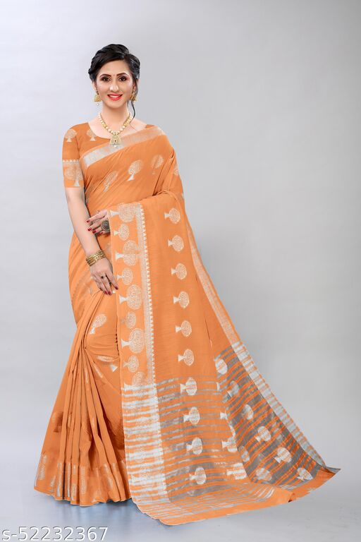 TRENDY SILVER ZARI BUTTA COTTON FABRIC SAREE WITH ATTECHED RUNNING BLOUSE PIECE