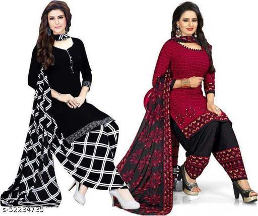 Aayansh Fashion Industries presents Casual, Daily & Festive Wear Women & Girl Geometric Printed, Italian Leon Crepe Fabrics Dress Material & Salwar Suit(COMBO SETS)