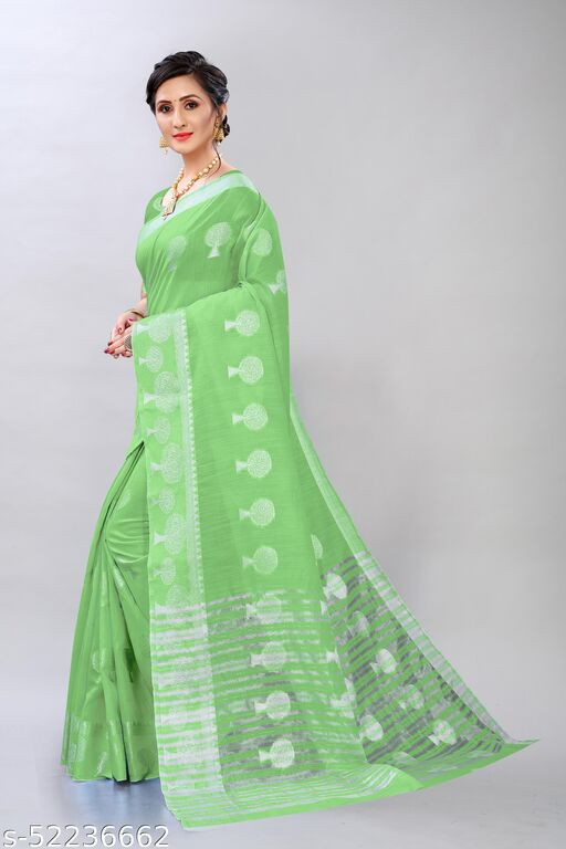 FANCY SILVER ZARI BUTTA COTTON FABRIC SAREE WITH ATTECHED RUNNING BLOUSE PIECE