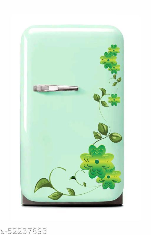 Green Flowers and decorative fridge sticker (multicolor pvc vinyl)