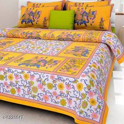 Sanganeri Print Double 100x90 Cotton Bedsheet