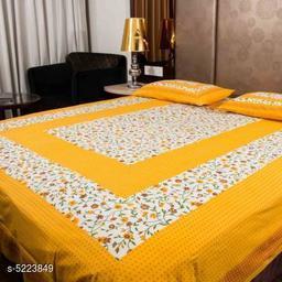 Sanganeri Jaipuri Printed Sanganeri Print Double 100x90 Cotton Bedsheet