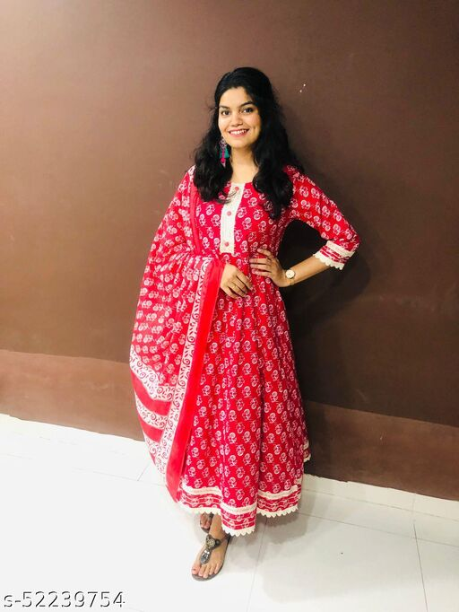 JAIPURDESI Women Red Anarkali Dress with Lace work and Duppata