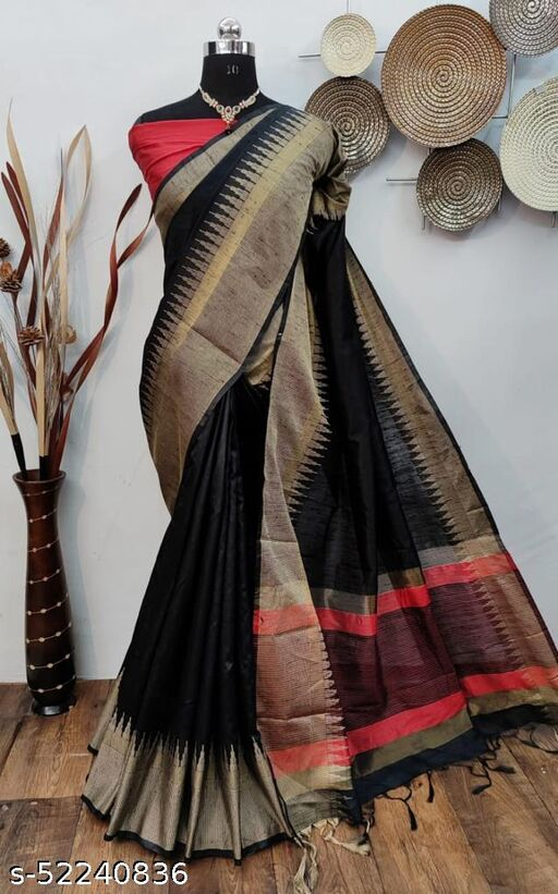 Shangreela Raw Silk Weaving saree with temple Woven Border and Contrsr Pallu with Contrst Blouse piece