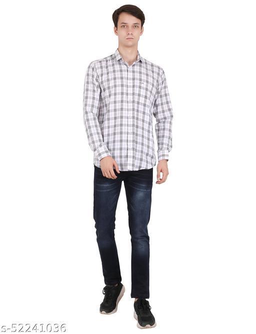 Sky Mount Check Design Men Formal Shirts