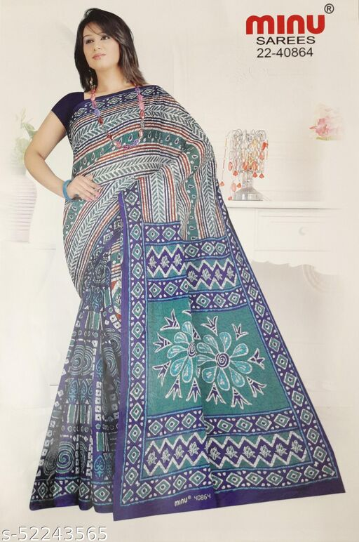Cotton Daily Use saree Half Half Design
