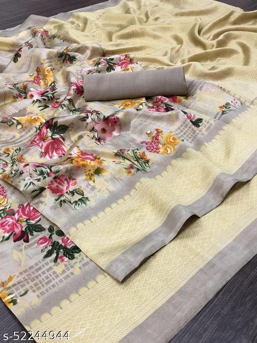 Stylish Linen Cotton Brown Color Printed Zari Patta Saree