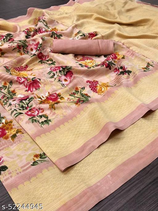 Stylish Linen Cotton Peach Color Printed Zari Patta Saree
