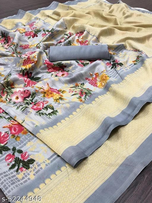 Stylish Linen Cotton Grey Color Printed Zari Patta Saree