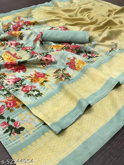 Stylish Linen Cotton Rama Color Printed Zari Patta Saree