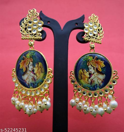 Gold Tone Padmavati Inspired Classic Dangle Kundan work & Pearl Drops Earring For Women and Girls