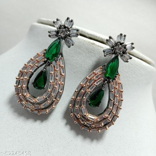 Premium Quality Rhodium Plated American Diamonds Earrings