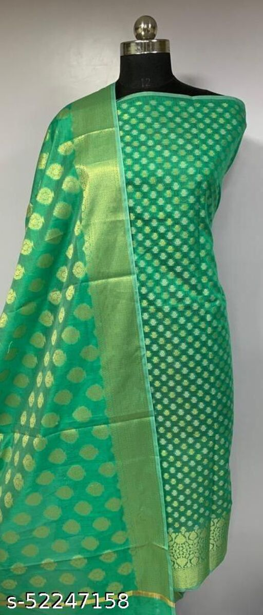 (1Mint Green) TRenDy Banarsi Cotton Suit And Dress Material