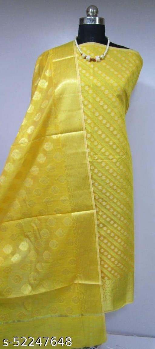 (3Yellow) TrenDy Fabulous Banarsi Cotton Suit And Dress Material
