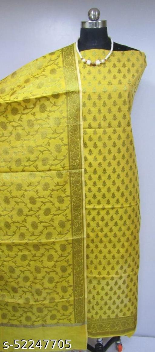(4Yellow) Fabulous Banarsi Cotton Suit And Dress Material