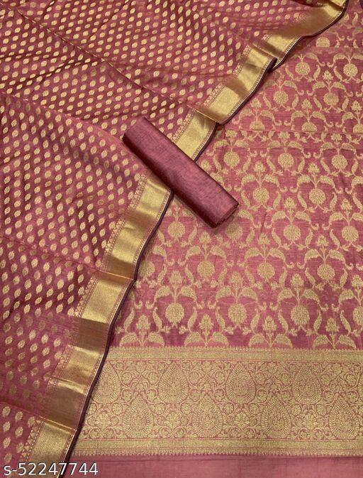 (5Peach) Fabulous Banarsi Jaquard Chanderi Cotton Suit And Dress Material
