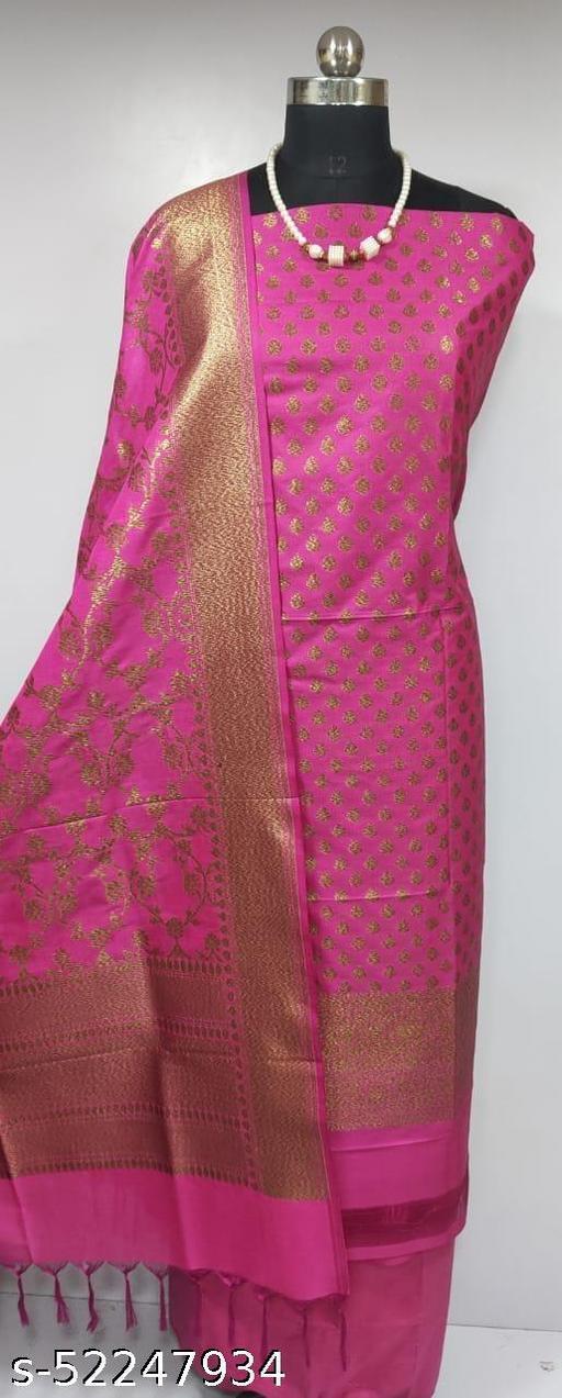 (6Pink) Fabulous Banarsi Pure Silk Suit And Dress Material