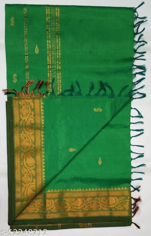 Cotton Silk Saree - Zari Border Cotton Silk Saree With Zari Butta (Parrot Green)