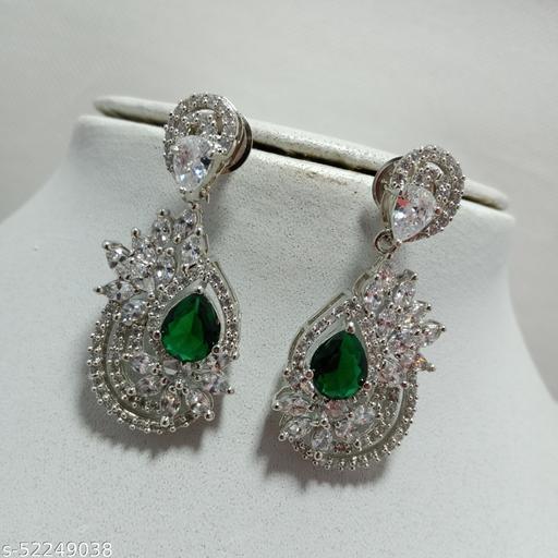 Premium Quality Silver Plated American Diamonds Earrings