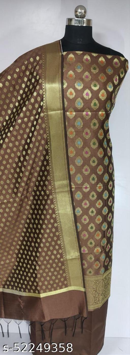 (4Brown) Fabulous Banarsi Multi Mina Silk Suit And Dress Material