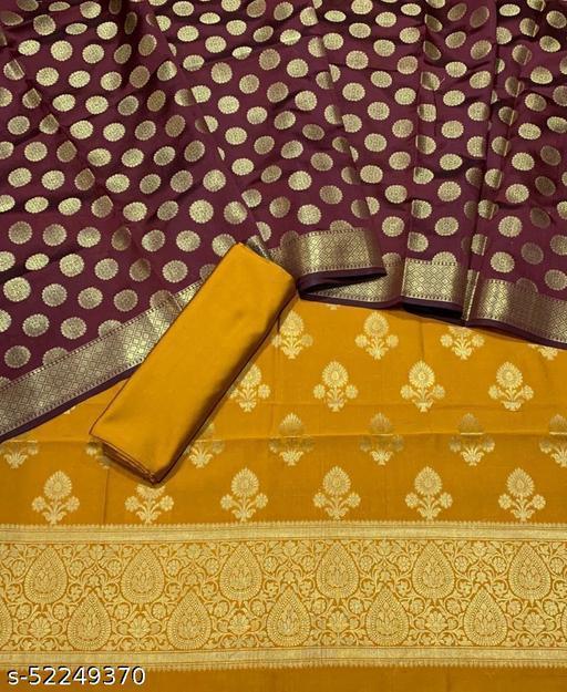 (5Mustard) Fabulous Banarsi Contrass Matching Silk Suit And Dress Material