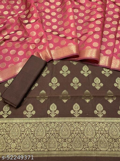 (5Brown) Fabulous Banarsi Contrass Matching Silk Suit And Dress Material