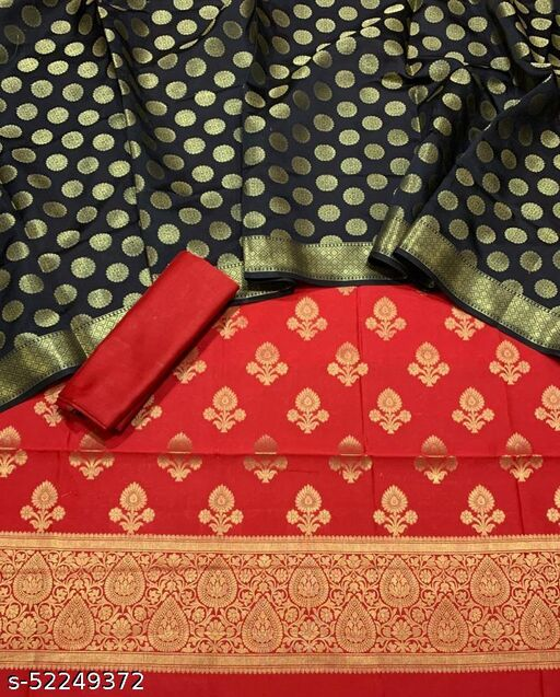 (5Red) Fabulous Banarsi Contrass Matching Silk Suit And Dress Material